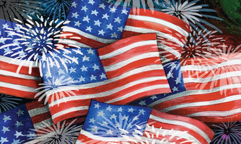 Sparkling Old Glory Door Mat Image