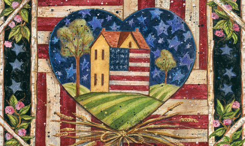 American Folk Heart Door Mat Image