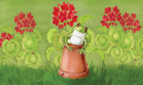 Potted Frog Door Mat Image