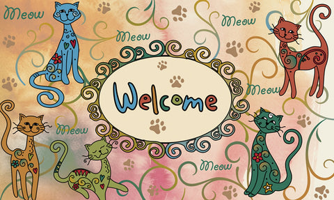 Meow Welcome Door Mat Image