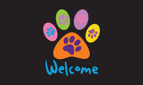 Welcome Paws - Black Door Mat Image