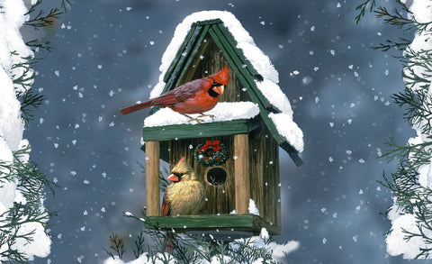 Cardinals In Snow Door Mat Image