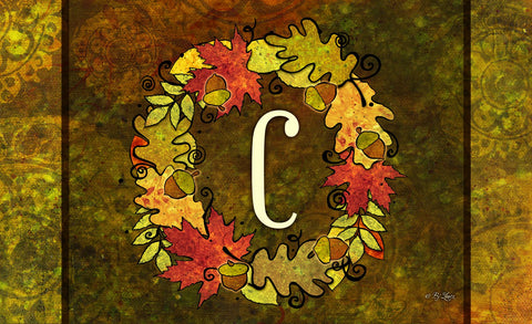 Fall Wreath Monogram C Door Mat Image