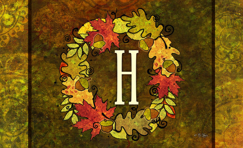 Fall Wreath Monogram H Door Mat Image