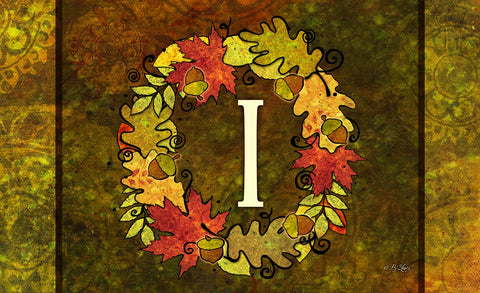 Fall Wreath Monogram I Door Mat Image