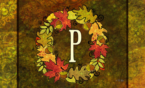 Fall Wreath Monogram P Door Mat Image