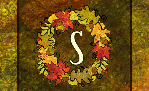 Fall Wreath Monogram S Door Mat Image
