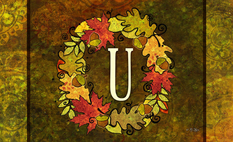 Fall Wreath Monogram U Door Mat Image