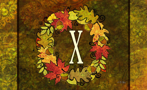Fall Wreath Monogram X Door Mat Image