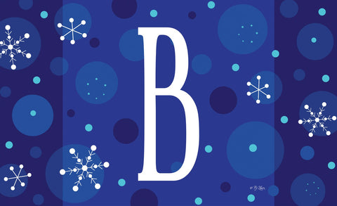 Winter Snowflakes Monogram B Door Mat Image