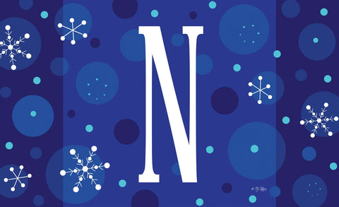 Winter Snowflakes Monogram N Door Mat Image