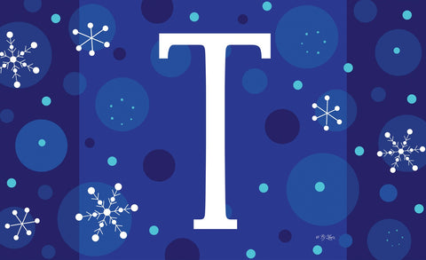 Winter Snowflakes Monogram T Door Mat Image