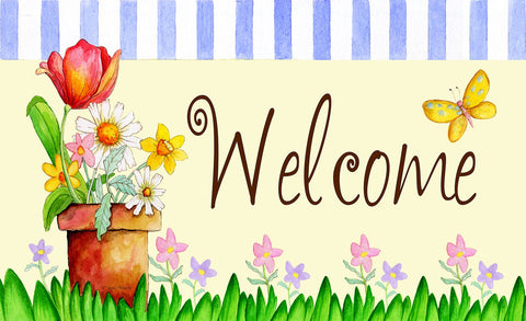 Potted Welcome Door Mat Image