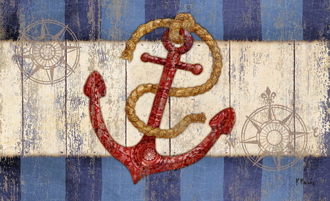 Rustic Anchor and Compass Door Mat Image