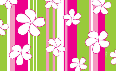 Flowers and Stripes Door Mat Image