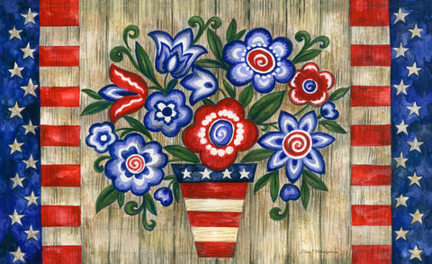 Patriotic Flowers Door Mat Image