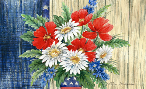 Patriotic Bouquet Door Mat Image