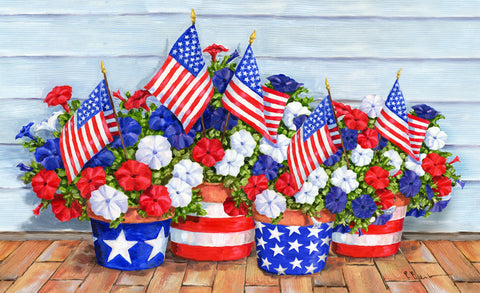 Patriotic Pansies Door Mat Image