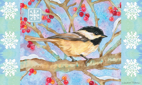 Winter Woods Chickadee Door Mat Image