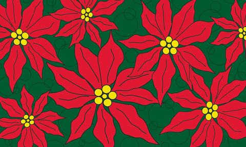 Pretty Poinsettias Door Mat Image