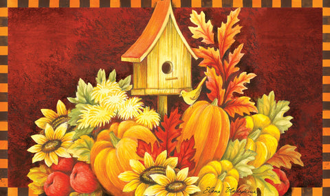 Fall Birdhouse Door Mat Image