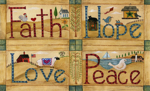 Faith Hope Love Peace Door Mat Image