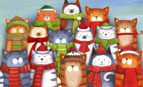 Cat Caroling Door Mat Image