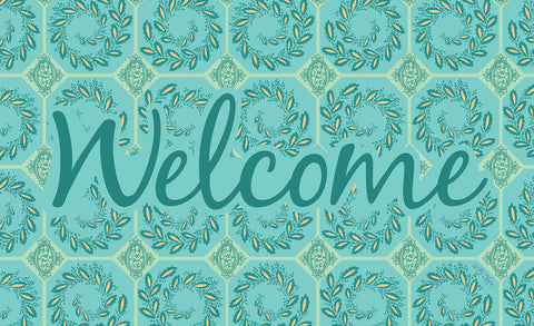 Elegant Ivy Welcome - Teal Door Mat Image