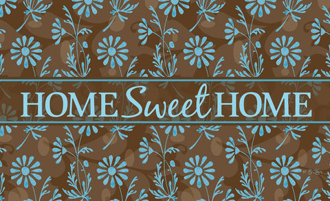 Sweet Flower Medley - Blue Door Mat Image