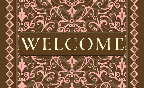 Welcome Damask - Pink Door Mat Image