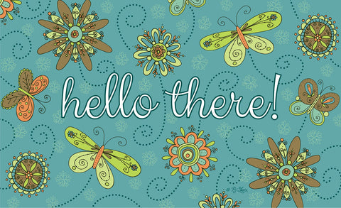 Hello Flowers and Butterflies - Blue Door Mat Image