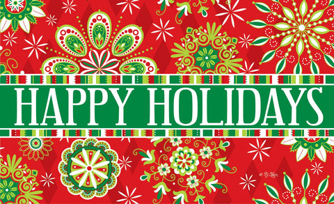 Happy Holidays Kaleidoscope Door Mat Image