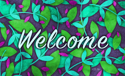 Spring Leaves Welcome Door Mat Image