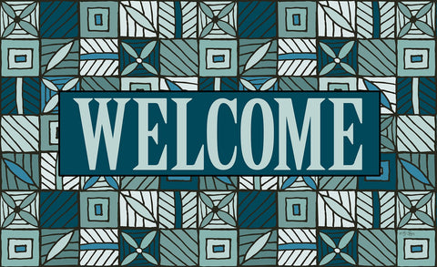 Welcome Floral Checkerboard 2 Door Mat Image
