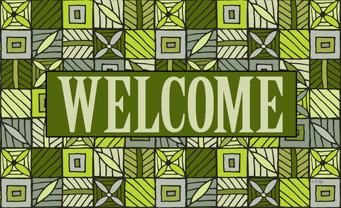 Welcome Floral Checkerboard 4 Door Mat Image