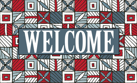 Welcome Floral Checkerboard 5 Door Mat Image