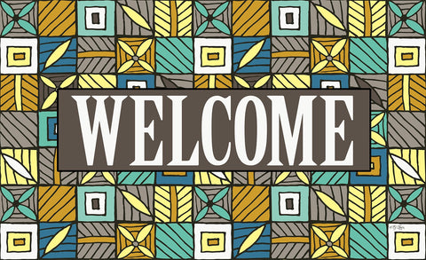 Welcome Floral Checkerboard 6 Door Mat Image