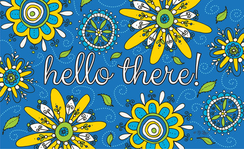 Hello Fizzy Flowers Door Mat Image