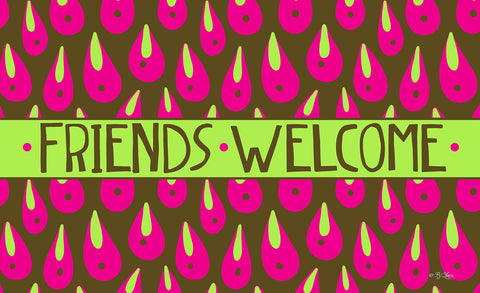 Welcome Rain Drops - Pink Door Mat Image