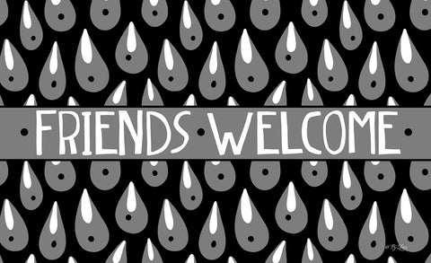 Welcome Rain Drops - Black Door Mat Image