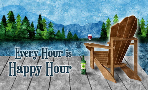 Happy Hour Lake Door Mat Image