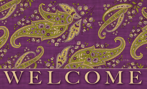 Purple Stained Paisley - Welcome Door Mat Image