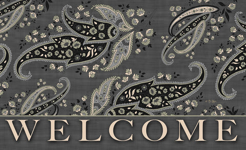 Charcoal Stained Paisley - Welcome Door Mat Image