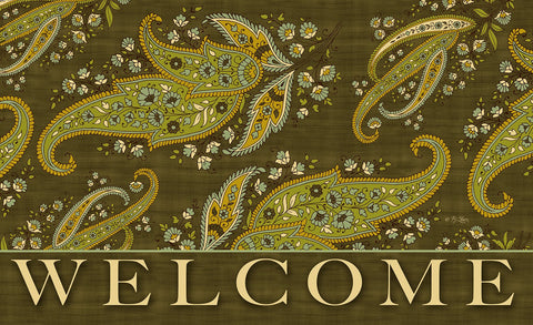 Green Stained Paisley - Welcome Door Mat Image