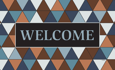 Welcome Triangle - Blue Door Mat Image