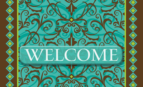 Damask Welcome Door Mat Image
