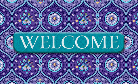 Purple Paws Welcome Door Mat Image