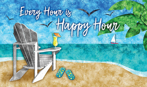 Happy Hour Beach Door Mat Image