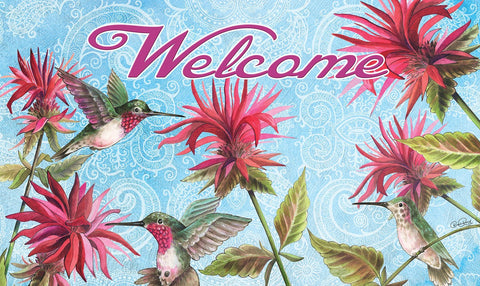 Hummingbirds in Garden Door Mat Image