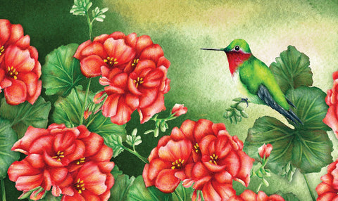 Geraniums and Hummingbird Door Mat Image